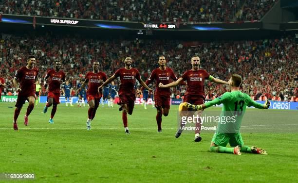 Adrian of Liverpool Saves the penalty and wins the game for Liverpool during the UEFA Super Cup match between Liverpool and Chelsea at Vodafone Park...