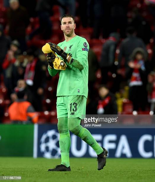 Adrian of Liverpool showing his appreciation to the fans at the end of the UEFA Champions League round of 16 second leg match between Liverpool FC...