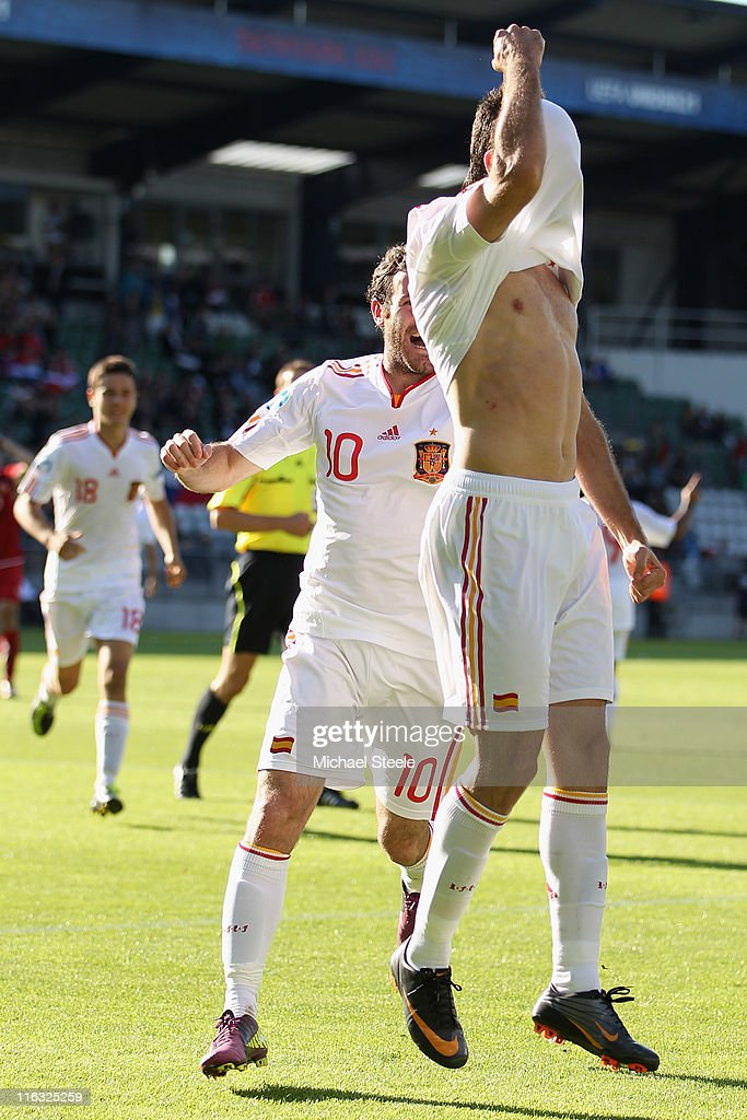 Adrian (R) of Spain celebrates scoring his second goal as Juan Mata (L) joins in during the UEFA European Under-21 Championship Group B match between Czech Republic and Spain at the Viborg Stadium on June 15, 2011 in Viborg, Denmark.