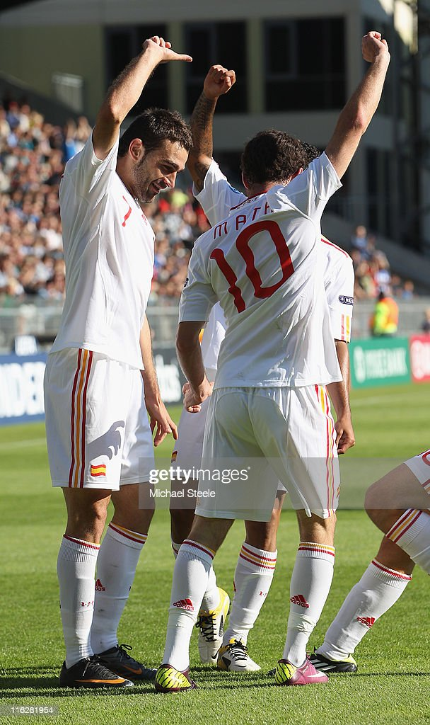 Adrian (L) of Spain celebrates scoring the first goal with Juan Mata (R) during the UEFA European Under-21 Championship Group B match between Czech Republic and Spain at the Viborg Stadium on June 15, 2011 in Viborg, Denmark.