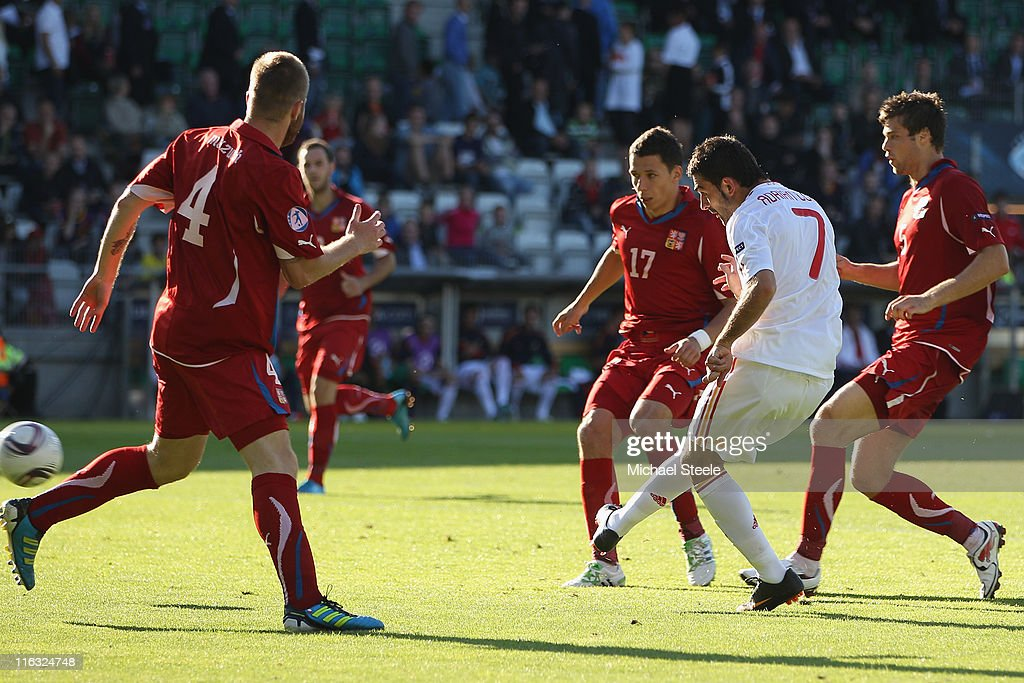 Adrian (2R) of Spain scores his second goal during the UEFA European Under-21 Championship Group B match between Czech Republic and Spain at the Viborg Stadium on June 15, 2011 in Viborg, Denmark.