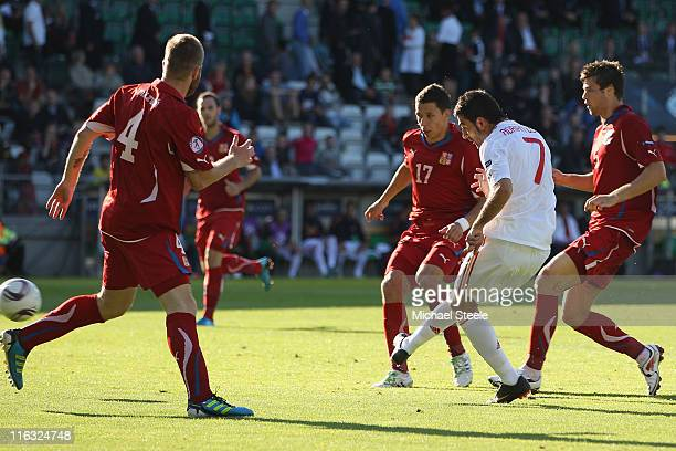 Adrian of Spain scores his second goal during the UEFA European Under21 Championship Group B match between Czech Republic and Spain at the Viborg...