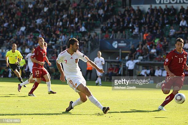 Adrian of Spain scores the first goal during the UEFA European Under21 Championship Group B match between Czech Republic and Spain at the Viborg...