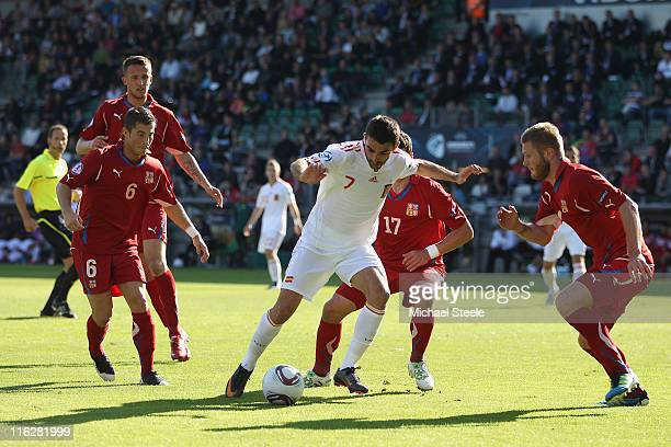 Adrian of Spain surrounded by Lukas Vacha Marek Suchy and Ondrej Mazuch during the UEFA European Under21 Championship Group B match between Czech...
