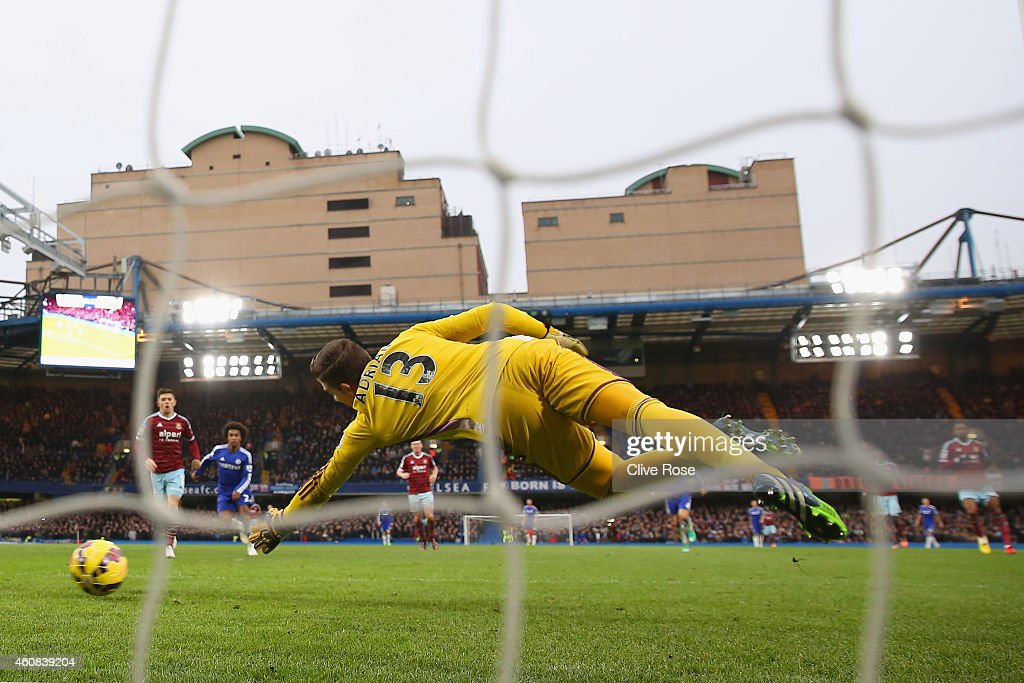Adrian of West Ham fails to make the save as Diego Costa of Chelsea (not pictured) scored their second goal during the Barclays Premier League match between Chelsea and West Ham United at Stamford Bridge on December 26, 2014 in London, England.