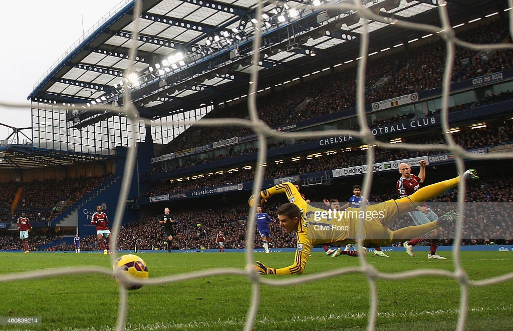 Adrian of West Ham fails to make the save as Diego Costa of Chelsea scored their second goal during the Barclays Premier League match between Chelsea and West Ham United at Stamford Bridge on December 26, 2014 in London, England.