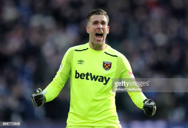 Adrian of West Ham United celebrate his sides first goal during the Premier League match between West Ham United and Chelsea at London Stadium on...