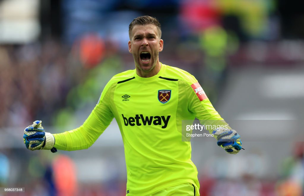 Adrian of West Ham United celebrates after Manuel Lanzini (not pictured) of West Ham United scores his sides first goal during the Premier League match between West Ham United and Everton at London Stadium on May 13, 2018 in London, England.
