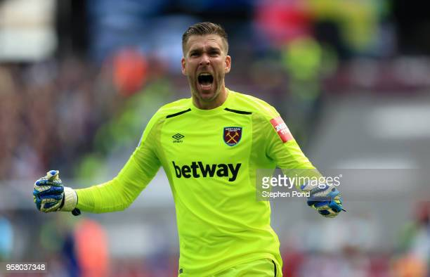 Adrian of West Ham United celebrates after Manuel Lanzini of West Ham United scores his sides first goal during the Premier League match between West...