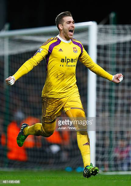 Adrian of West Ham United celebrates as he scores the winning penalty in the shoot out during the FA Cup Third Round Replay match between West Ham...
