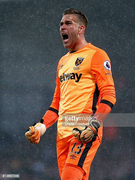 Adrian of West Ham United celebrates as Manuel Lanzini of West Ham United scores their first goal during the Premier League match between Crystal...