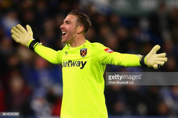 Adrian of West Ham United celebrates during the Premier League match between Huddersfield Town and West Ham United at John Smith's Stadium on January...
