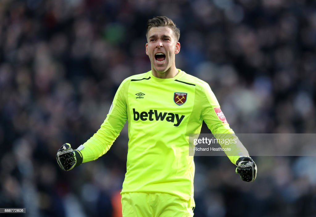 Adrian of West Ham United celebrates his sides first goal during the Premier League match between West Ham United and Chelsea at London Stadium on December 9, 2017 in London, England.