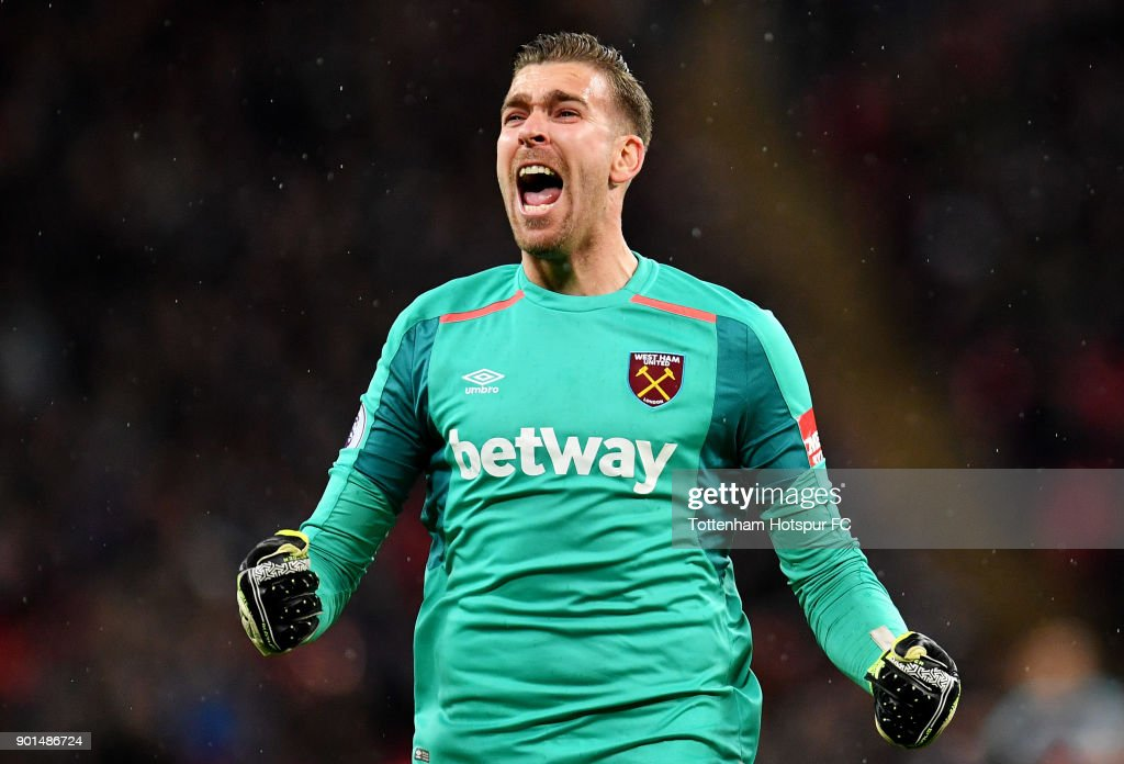 Adrian of West Ham United celebrates his sides first goal during the Premier League match between Tottenham Hotspur and West Ham United at Wembley Stadium on January 4, 2018 in London, England.
