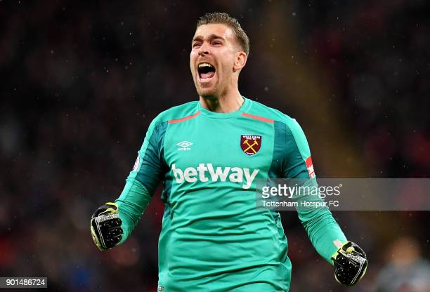 Adrian of West Ham United celebrates his sides first goal during the Premier League match between Tottenham Hotspur and West Ham United at Wembley...