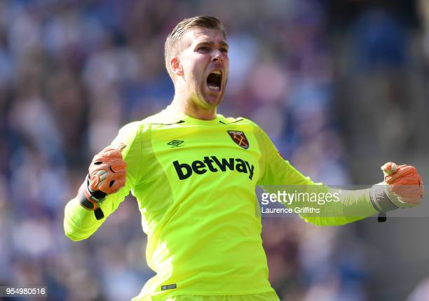 Adrian of West Ham United celebrates his side's first goal during the Premier League match between Leicester City and West Ham United at The King...