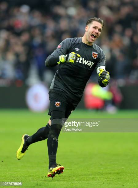 Adrian of West Ham United celebrates his sides second goal during the FA Cup Third Round match between West Ham United and Birmingham City at The...