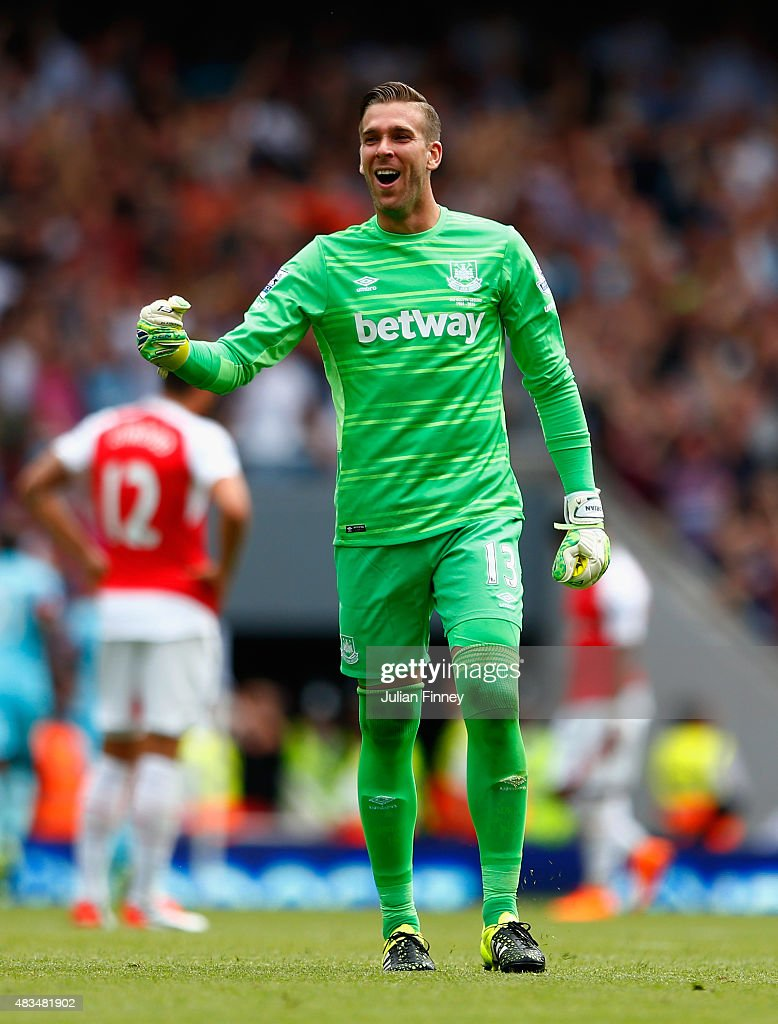 Adrian of West Ham United celebrates their second goal scored by Mauro Zarate of West Ham United during the Barclays Premier League match between Arsenal and West Ham United at the Emirates Stadium on August 9, 2015 in London, England.