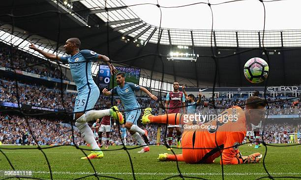 Adrian of West Ham United fails to stop the header by Fernandinho of Manchester City during the Premier League match between Manchester City and West...