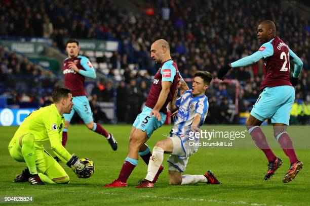 Adrian of West Ham United holds onto the ball during the Premier League match between Huddersfield Town and West Ham United at John Smith's Stadium...