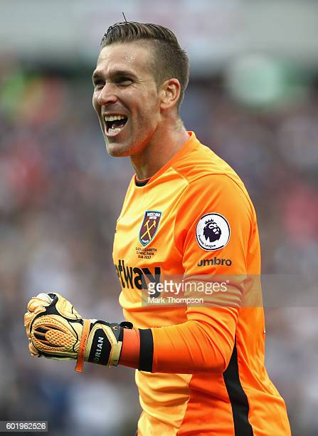 Adrian of West Ham United in action during the Premier League match between West Ham United and Watford at the Olympic Stadium on September 10 2016...
