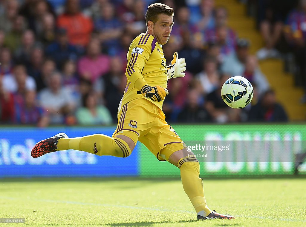 Adrian of West Ham United in action during the Premiere League match between Crystal Palace and West Ham United at Selhurst Park on August 23, 2014 in London, England.