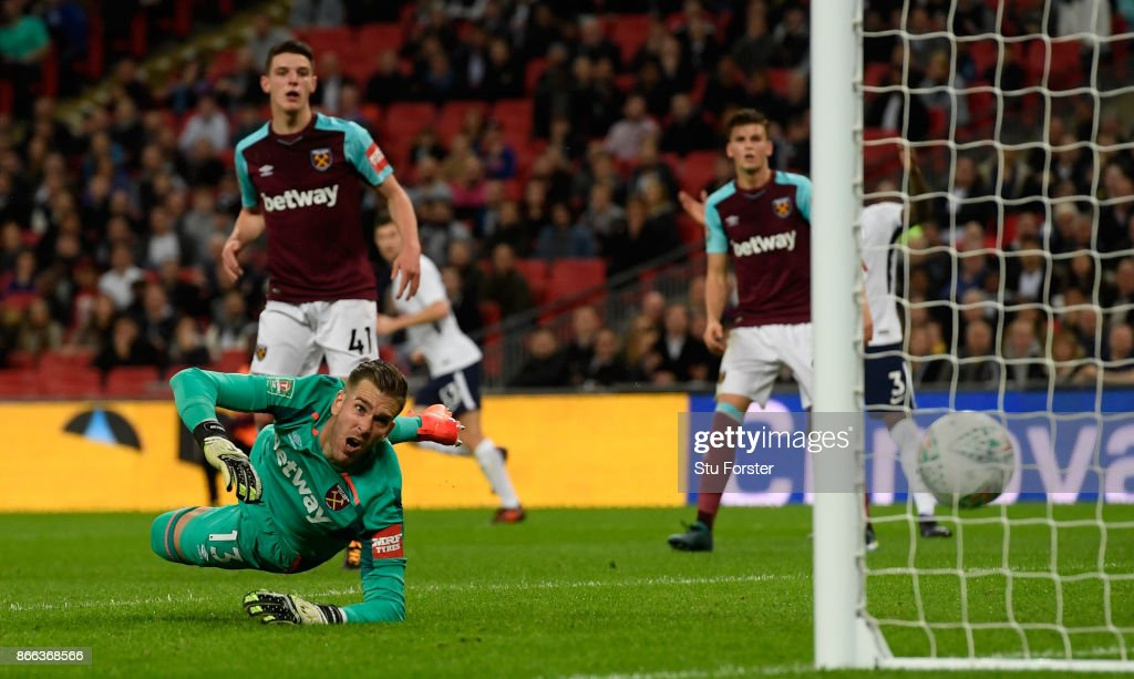 Adrian of West Ham United looks on as Dele Alli of Tottenham Hotspur (Not pictured) scores his sides second goal during the Carabao Cup Fourth Round match between Tottenham Hotspur and West Ham United at Wembley Stadium on October 25, 2017 in London, England.