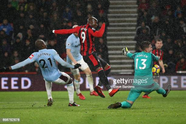Adrian of West Ham United makes a save from Benik Afobe of AFC Bournemouth during the Premier League match between AFC Bournemouth and West Ham...