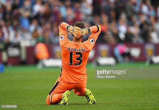 Adrian of West Ham United reacts during the Premier League match between West Ham United and Southampton at London Stadium on September 25 2016 in...