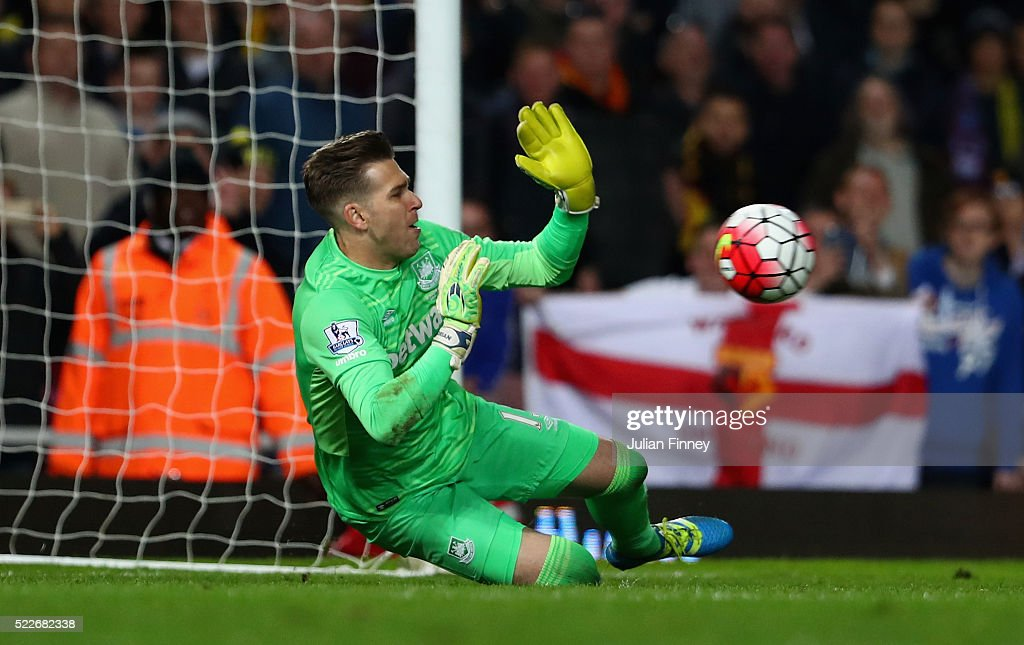 Adrian of West Ham United saves a penalty from Troy Deeney of Watford during the Barclays Premier League match between West Ham United and Watford at the Boleyn Ground, April 20, 2016, London, England