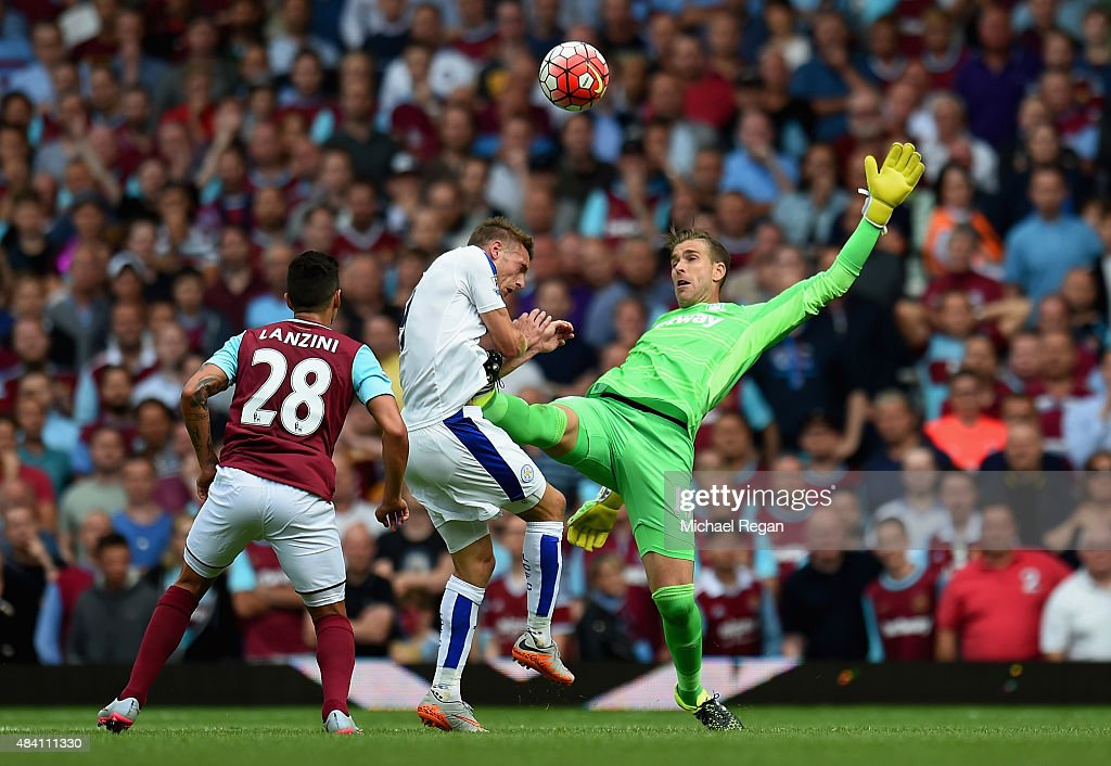 Adrian of West Ham United tackles Jamie Vardy of Leicester City resulting in the red card during the Barclays Premier League match between West Ham United and Leicester City at the Boleyn Ground on August 15, 2015 in London, United Kingdom.