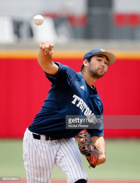Adrian Orozco of UC San Diego pitches against West Chester University during the Division II Men's Baseball Championship held at The Ballpark in...