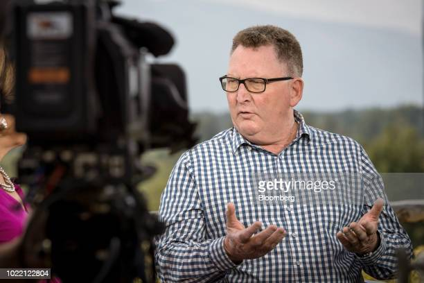 Adrian Orr governor of the Reserve Bank of New Zealand speaks during a Bloomberg Television interview at the Jackson Hole economic symposium...