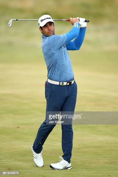 Adrian Otaegui of of Spain plays his second shot on the 10th hole during day one of the Dubai Duty Free Irish Open at Ballyliffin Golf Club on July 5...