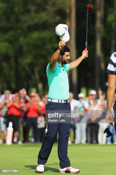 Adrian Otaegui of Spain celebrates after beating Benjamin Hebert after he wins the tournament on the final day of the Belgian Knockout at Rinkven...