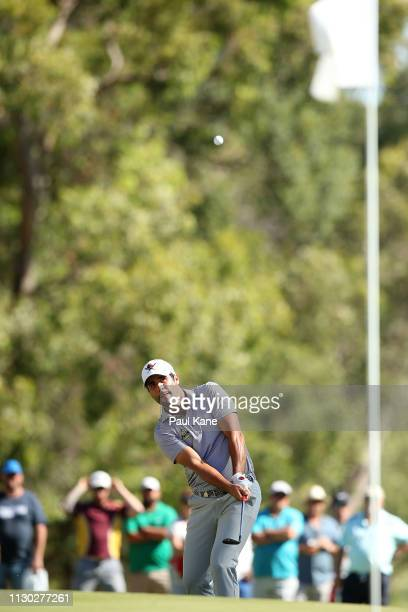 Adrian Otaegui of Spain chips onto the green in the final against Ryan Fox of New Zealand during day 4 of the ISPS Handa World Super 6 Perth at Lake...