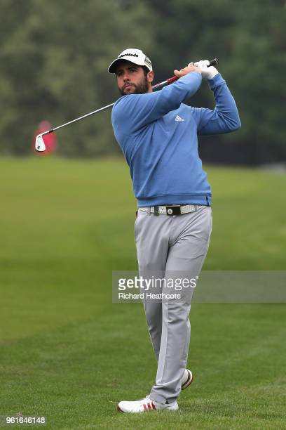 Adrian Otaegui of Spain hits an approach during the Pro Am for the BMW PGA Championship at Wentworth on May 23 2018 in Virginia Water England