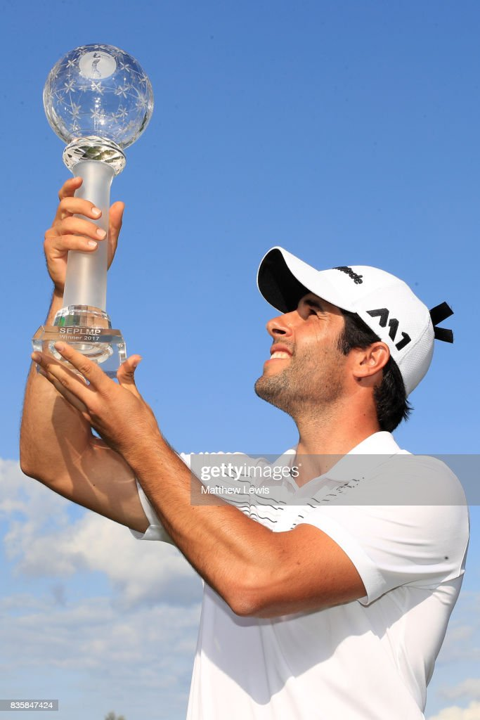 Adrian Otaegui of Spain holds the trophy aloft following his victory over Marcel Siem of Germany during the final match of the Saltire Energy Paul Lawrie Matchplay at Golf Resort Bad Griesbach on August 20, 2017 in Passau, Germany.