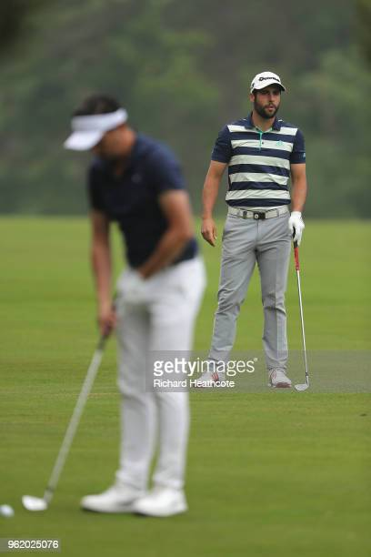 Adrian Otaegui of Spain looks down the 9th hole during the first round of the BMW PGA Championship at Wentworth on May 24 2018 in Virginia Water...