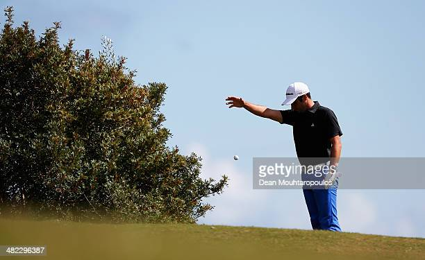 Adrian Otaegui of Spain plays a drop ball on the 18th hole during day one of the NH Collection Open held at La Reserva de Sotogrande Club de Golf on...
