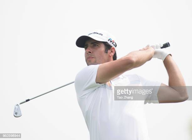 Adrian Otaegui of Spain plays a shot during the four day of the 2018 Volvo China open at Beijing Huairou Topwin Golf and Country Clubon April 29 2018...