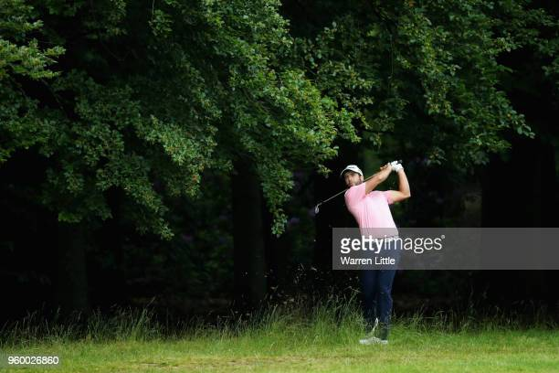 Adrian Otaegui of Spain plays his second shot on the 18th hole during the knockout stage on day three of the Belgian Knockout at Rinkven...