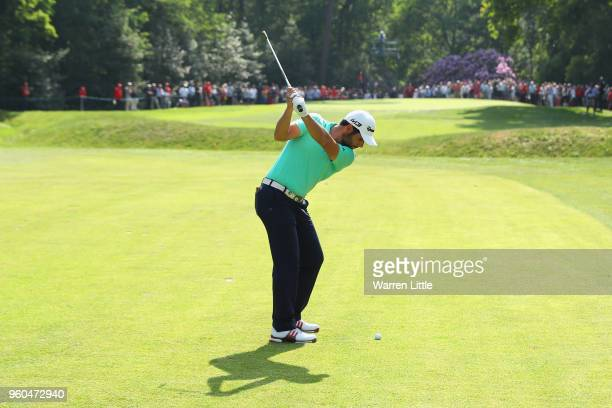 Adrian Otaegui of Spain plays his third shot on the 8th hole during the Final match against Benjamin Hebert during the final day of the Belgian...