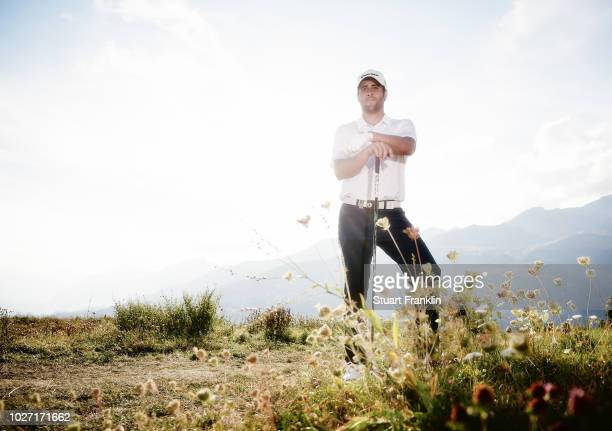 Adrian Otaegui of Spain poses for a picture during the pro am prior to the start of the Omega European Masters at CranssurSierre Golf Club on...