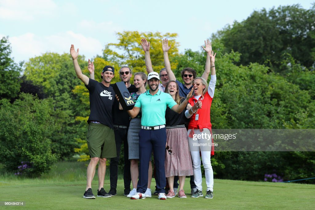 Adrian Otaegui of Spain poses with members of the Pieters production after beating Benjamin Hebert during their final match to win the tournament on the final day of the Belgian Knockout at Rinkven International Golf Club on May 20, 2018 in Antwerpen, Belgium.