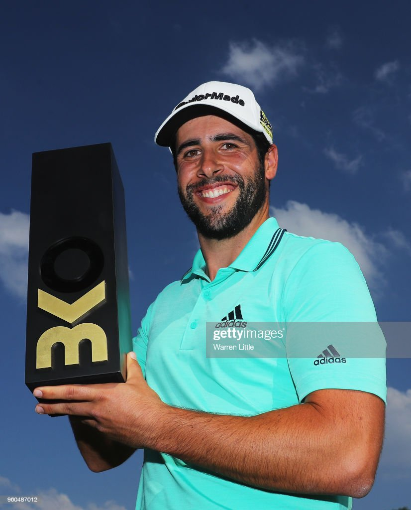 Adrian Otaegui of Spain poses with the trophy after beating Benjamin Hebert during their final match to win the tournament on the final day of the Belgian Knockout at Rinkven International Golf Club on May 20, 2018 in Antwerpen, Belgium.