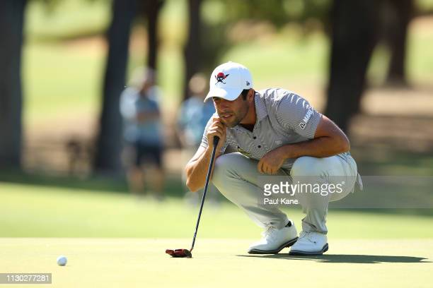 Adrian Otaegui of Spain reads the green in the final against Ryan Fox of New Zealand during day 4 of the ISPS Handa World Super 6 Perth at Lake...