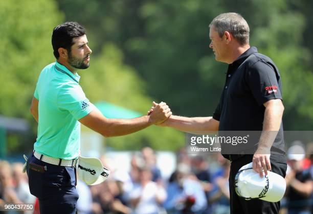 Adrian Otaegui of Spain shakes hands after winning his Semi Final match against David Drysdale of Scotland during the final day of the Belgian...
