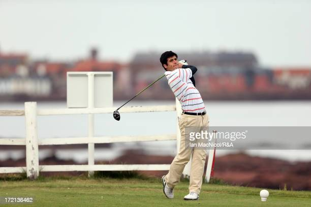 Adrian Otaegui of Spain tee's off from the fourth tee during the Open Championship Local Qualifying at Dunbar Golf Course on July 02 2013 in Dunbar...