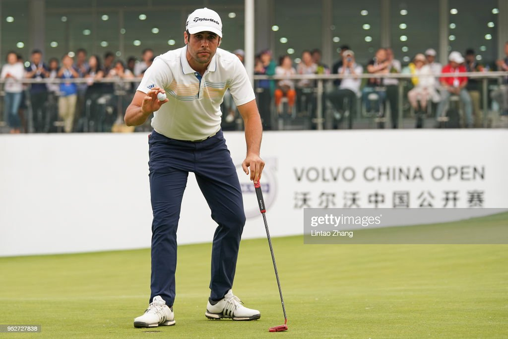 Adrian Otaegui of Spain waves his ball to the fans during the final round of the 2018 Volvo China Open at Topwin Golf and Country Club on April 29, 2018 in Beijing, China.